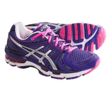 ASICS GEL-Kayano 18 Running Shoes (For Women) in Titanium/Hot Pink/Lightning