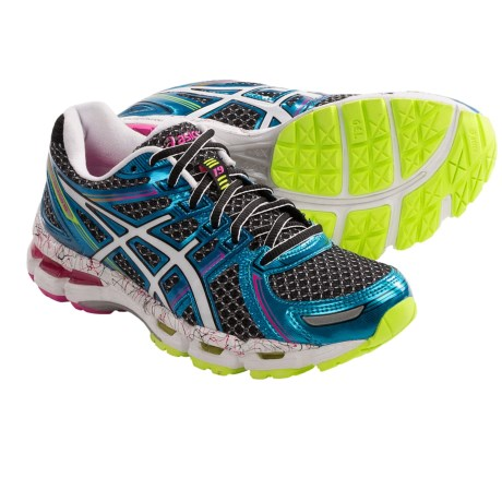 Asics Gel-Kayano 19 Running Shoes (For Women) in Black/White/Flash Pink