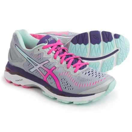 ASICS GEL-Kayano 23 Running Shoes (For Women) in Silver/Pink Glo/Purple - Closeouts