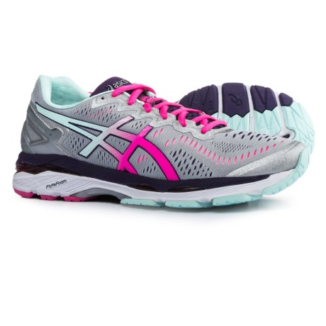 ASICS GEL-Kayano 23 Running Shoes (For Women) in Silver/Pink Glow/Parachute Purple