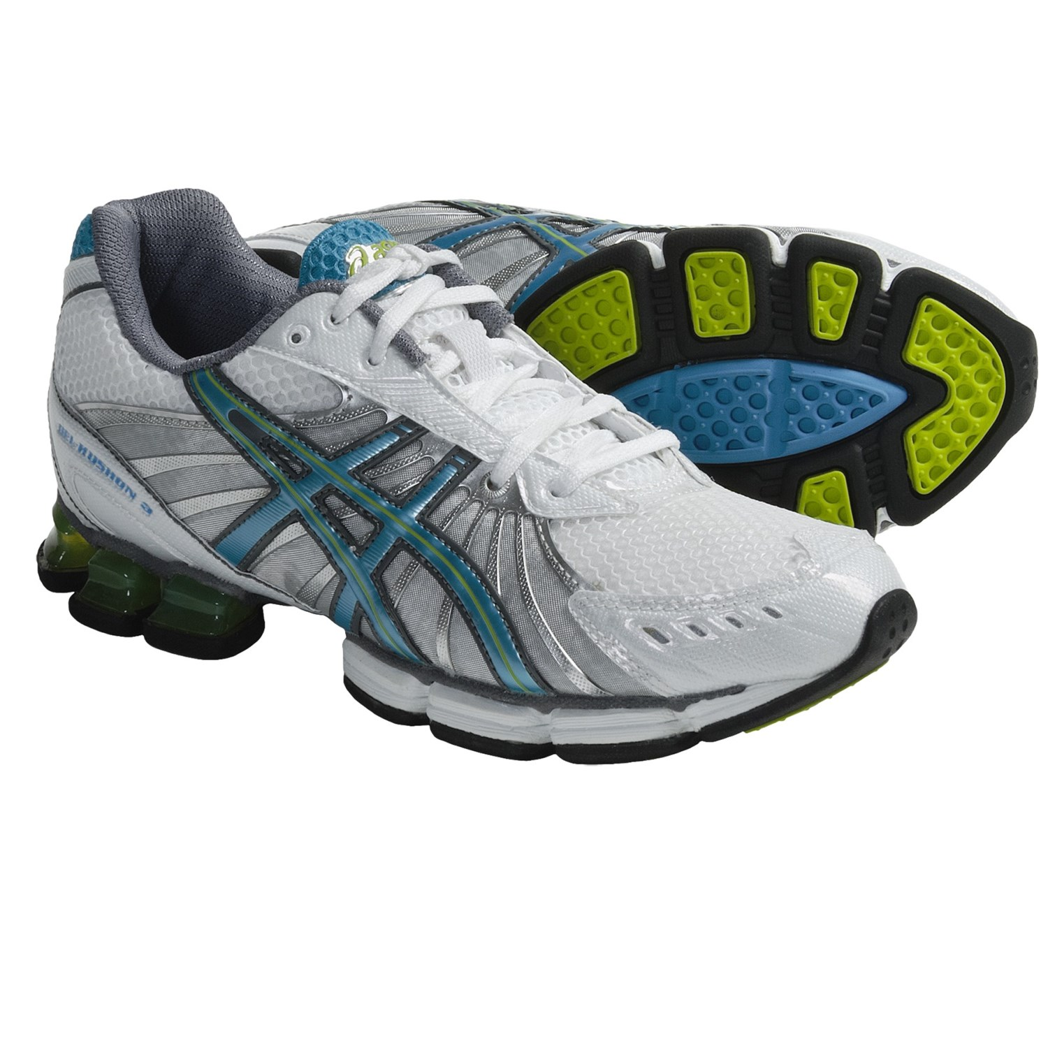Asics GEL-Kushon 3 Running Shoes (For Women) in White/Island Blue/Lime