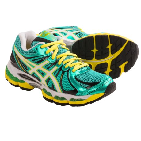 Asics Gel Nimbus 15 Running Shoes (For Women) in Green/Pearl White/Yellow
