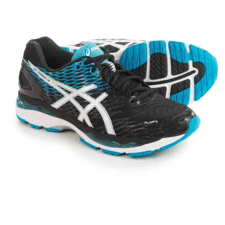 ASICS GEL-Nimbus 18 Running Shoes (For Men) in Black/White/Island Blue - Closeouts