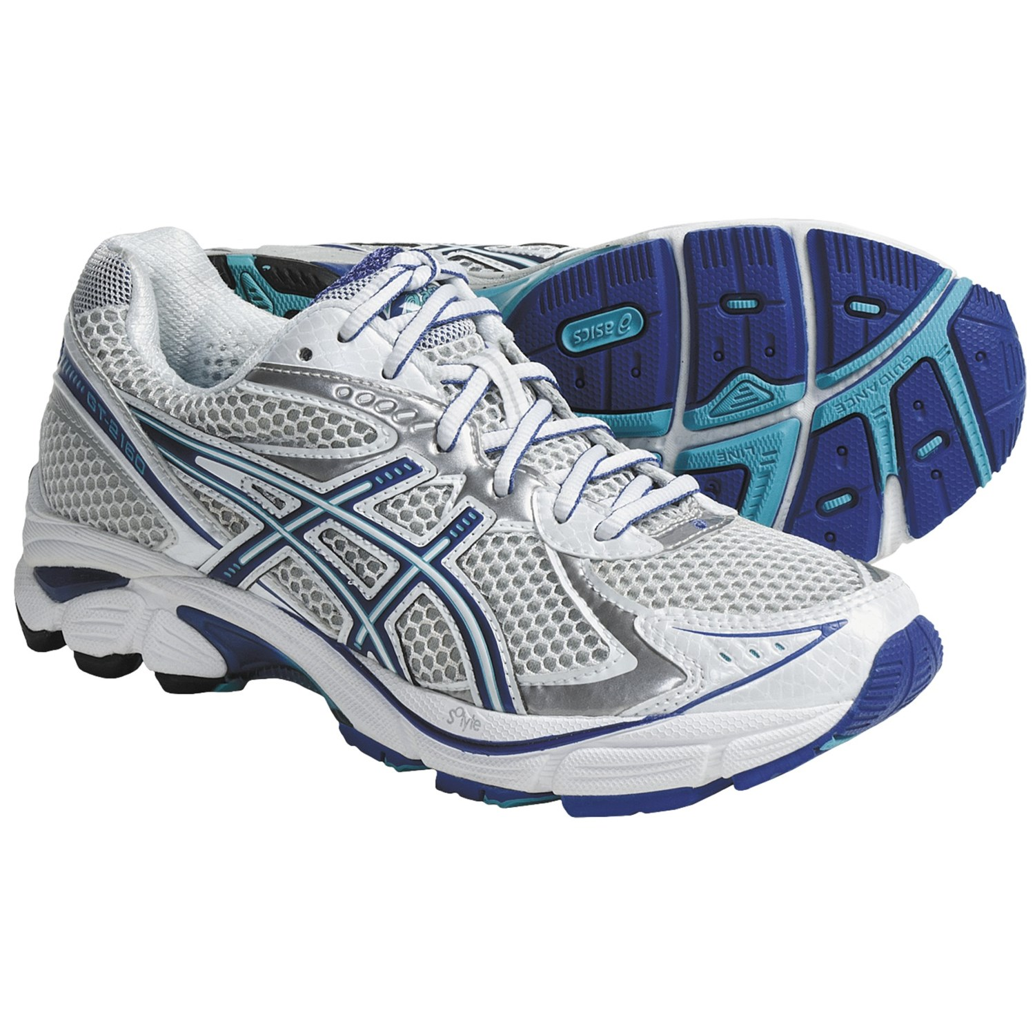 Asics GT-2160 Running Shoes (For Women) in White/Electric Blue