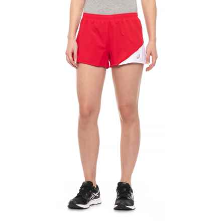 ASICS Gunlap 1/2 Split Shorts (For Women) in Red/White - Closeouts