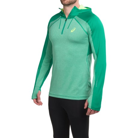 ASICS Hooded Pullover Shirt Zip Neck, Long Sleeve (For Men)