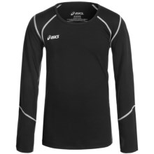 ASICS Jr. Volleycross Shirt - Long Sleeve (For Big Girls) in Black/Steel Grey - Closeouts
