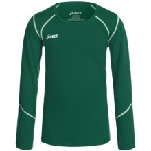 ASICS Jr. Volleycross Shirt - Long Sleeve (For Big Girls) in Forest/Steel Grey - Closeouts