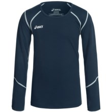 ASICS Jr. Volleycross Shirt - Long Sleeve (For Big Girls) in Navy/Steel Grey - Closeouts