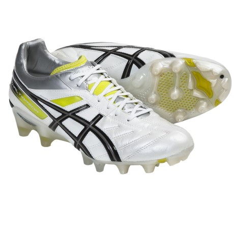 Asics Lethal Tigreor 4 IT Soccer Shoes (For Men) in Pearl White/Black