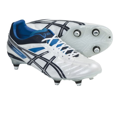 ASICS Lethal Tigreor 4 ST Soccer Shoes, Screw-In Studs (For Men) in Pearl White/Navy