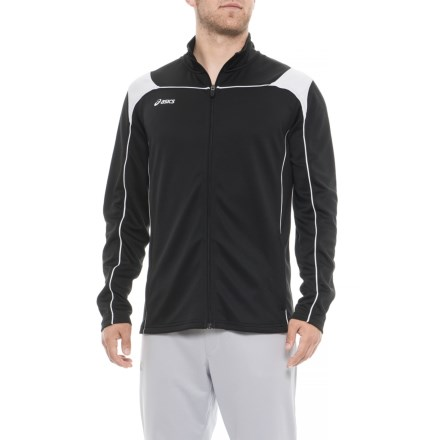 8f97f044a713 ASICS Miles Warm-Up Jacket (For Men) in Black/White - Closeouts