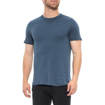 e72d4f1b ASICS Seamless Shirt - Short Sleeve (For Men) in Dark Blue Heather -  Closeouts