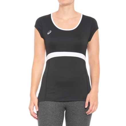 ASICS Spin Slice T-Shirt - UPF 50, Short Sleeve (For Women) in Black/White - Closeouts