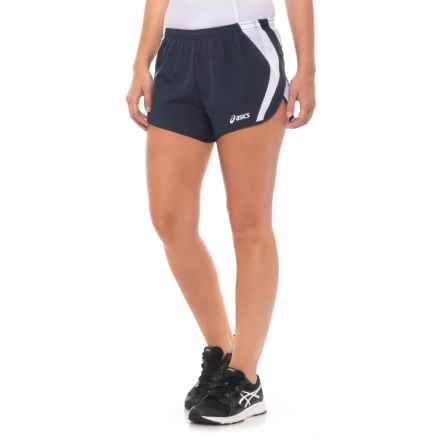ASICS Squad Split Shorts (For Women) in Navy/White - Closeouts