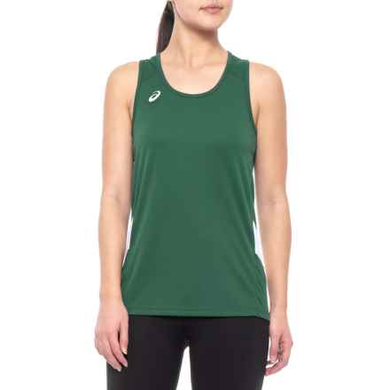ASICS Team Sweep Singlet (For Women) in Forest/White - Closeouts