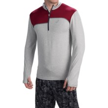 ASICS Thermopolis Pullover Shirt - Zip Mock Neck, Long Sleeve (For Men) in Light Grey Heather/Deep Ruby - Closeouts