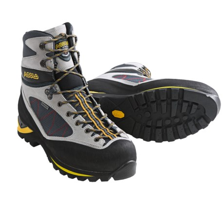 Asolo Pumori Gore-Tex® Mountaineering Boots - Waterproof (For Men) in Silver/Gunmetal/Red