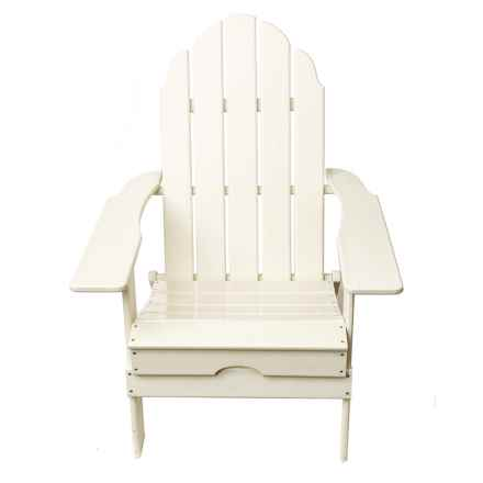 Aspen Brands Folding Recycled Composite Adirondack Chair in White - Closeouts