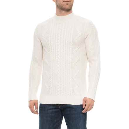 Aspen Cable-Stitch Mock Neck Sweater (For Men) in Ivory - Closeouts