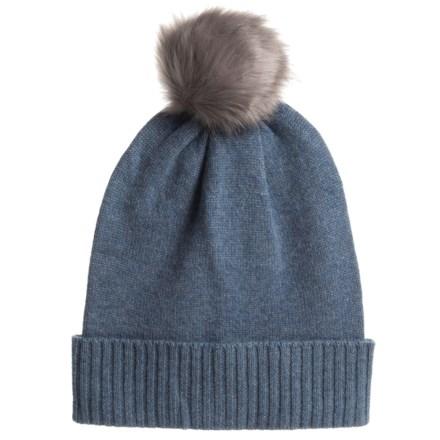30974c433 Aspen Cashmere Slouchy Hat - Faux-Fur Pom (For Women) in Bijou -