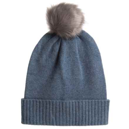Aspen Cashmere Slouchy Hat - Faux-Fur Pom (For Women) in Bijou - Closeouts