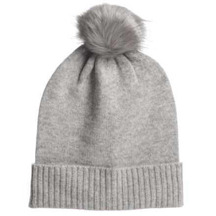 d49ed5160f1 Aspen Cashmere Slouchy Hat - Faux-Fur Pom (For Women) in Drizzle -