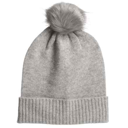 Aspen Cashmere Slouchy Hat - Faux-Fur Pom (For Women) in Drizzle - Closeouts