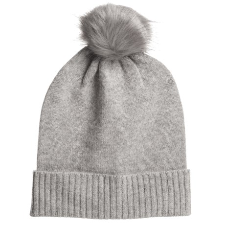 63839dd822a Aspen Cashmere Slouchy Hat - Faux-Fur Pom (For Women) in Drizzle