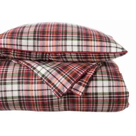 Aspen Edinburgh Plaid Cotton Flannel Comforter Set - King, Reversible in Red Multi - Closeouts