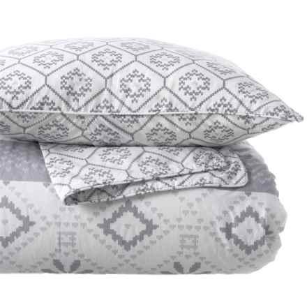 Aspen Nordic Stripe Cotton Comforter Set - King in Grey - Closeouts