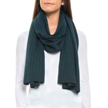 Aspen Pointelle Stripe Travel Scarf - Merino Wool (For Women) in Dragon - Closeouts