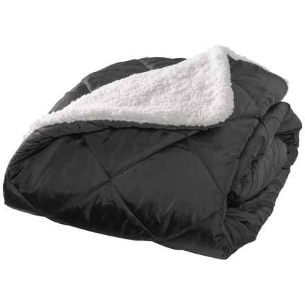 "Aspen Rolled Packable Sherpa Throw Blanket - 50x70"" in Black - Closeouts"