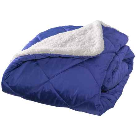 """Aspen Rolled Packable Sherpa Throw Blanket - 50x70"""" in Blue - Closeouts"""