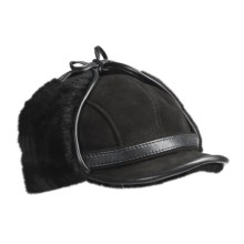 Aston Aviator Sheepskin Hat (For Men) in Black Suede - Closeouts