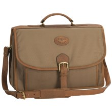 Aston Ballistic Canvas Briefcase - Leather Trim in Tan - Closeouts