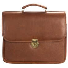 Aston Double Compartment Briefcase - Leather in Tan - Closeouts