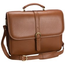 Aston Double Compartment Briefcase with Laptop Sleeve in Tan - Closeouts