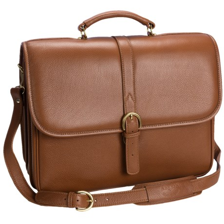 Aston Double Compartment Briefcase with Laptop Sleeve in Tan