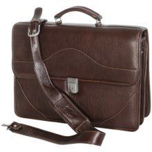 Aston Double-Compartment Leather Briefcase in Brown - Closeouts