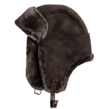 Aston Leather Alaskan Shearling Hat - Ear Flaps (For Men) in Suede Brown - Closeouts