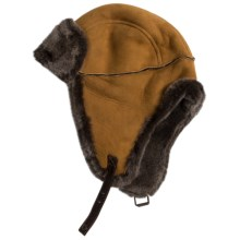 Aston Leather Alaskan Shearling Hat - Ear Flaps (For Men) in Suede Gold - Closeouts
