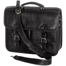 Aston Leather Briefcase - Dual Front Pockets in Black - Closeouts