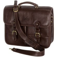 Aston Leather Briefcase - Dual Front Pockets in Brown - Closeouts