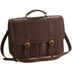 Aston Leather Briefcase - Two Compartment in Tan