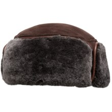 Aston Leather Greenland Sheepskin Shearling Hat (For Men) in Suede Brown - Closeouts