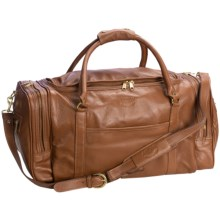 "Aston Leather Half Moon Zip Duffel Bag - 20"" in Tan - Closeouts"