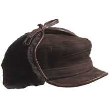 ASTON LEATHER LUXE SHEEPSKIN HAT (For Men) in Brown Suede - Closeouts