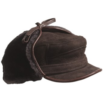 ASTON LEATHER LUXE SHEEPSKIN HAT (For Men) in Brown Suede