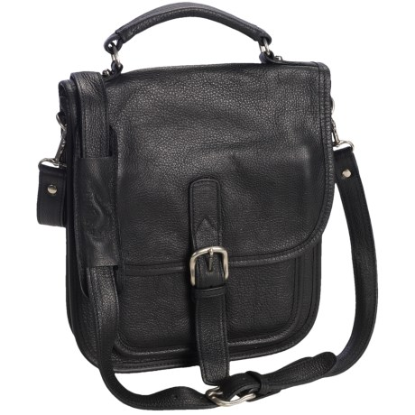 Aston Leather Medium Shoulder Bag in Black